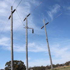 1950s transposition structure on the Wallerawang to Orange transmission line near Yetholme