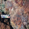 Close-up of hematite and goethite minerals associated with the gossan outcropping. This locality was probably used as a source of ochre pigments by the local Aboriginal people (1995)
