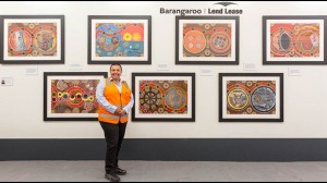 Glenda Hyde with her artworks at the Barangaroo site