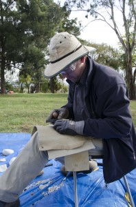 Demonstrating stone knapping on Springbank Island