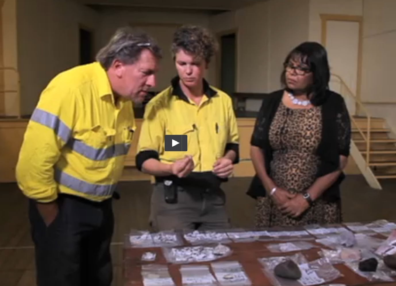 Anthony Barham, Rebecca Parkes and Lois Cook discussing salvage finds from Cooks Hill